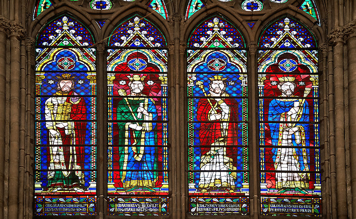Medieval Gothic Stained Glass Window Showing The Kings Of France Cathedral Basilica