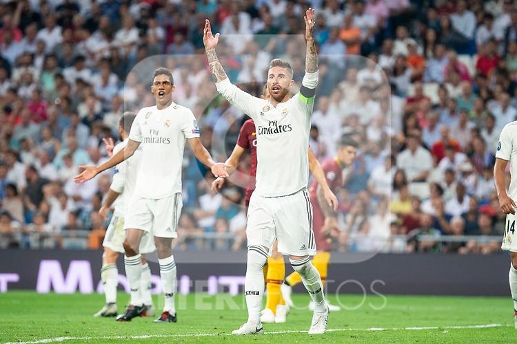 Real Madrid Sergio Ramos and Raphael Varane during UEFA Champions League match between Real Madrid and A.S.Roma at Santiago Bernabeu Stadium in Madrid, Spain. September 19, 2018. (ALTERPHOTOS/Borja B.Hojas)