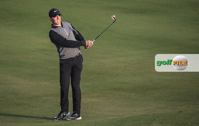 Rory McIlroy (NIR) chips to the 3rd hole during the Pro-Am at the 2016 Omega Dubai Desert Classic, played on the Emirates Golf Club, Dubai, United Arab Emirates.  03/02/2016. Picture: Golffile | David Lloyd<br /> <br /> All photos usage must carry mandatory copyright credit (&copy; Golffile | David Lloyd)