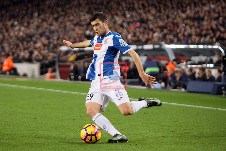 League Santander 2016/2017. Game: 16.<br /> FC Barcelona vs RCD Espanyol: 4-1.<br /> Aaron Martin.