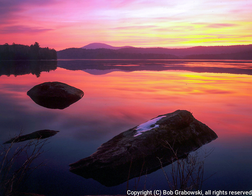 Sunrise on Cedar Lake in the West Canada Lakes Wilderness Area in the Adirondack Mountains in New York state