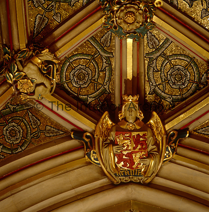 Detail of a gilded roof boss and vaulting in the Norman Porch. The mosaic shows the rose of England
