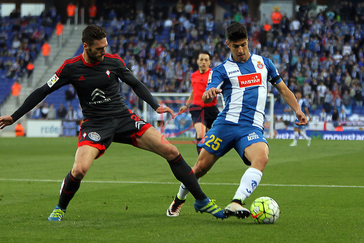 League BBVA 2015/2016 - Game: 34.<br /> RCD Espanyol vs RC Celta: 1-1.<br /> Sergi Gomez vs Marco Asensio.