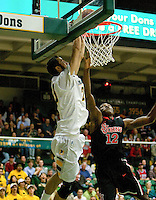 Mark Tollefsen of USF dunks the ball during the game against St. John's at War Memorial Gym in San Francisco, California on December 4th, 2012.   USF Dons defeated St. John's, 81-65.