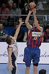 FC Barcelona's Fran Vazquez (r) and Caja Laboral Baskonia's Marcelinho Huertas during ACB Finals match. June 15,2010. (ALTERPHOTOS/Acero)