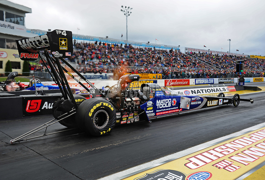 Oct. 2, 2011; Mohnton, PA, USA: NHRA top fuel dragster driver Antron Brown during the Auto Plus Nationals at Maple Grove Raceway. Mandatory Credit: Mark J. Rebilas-