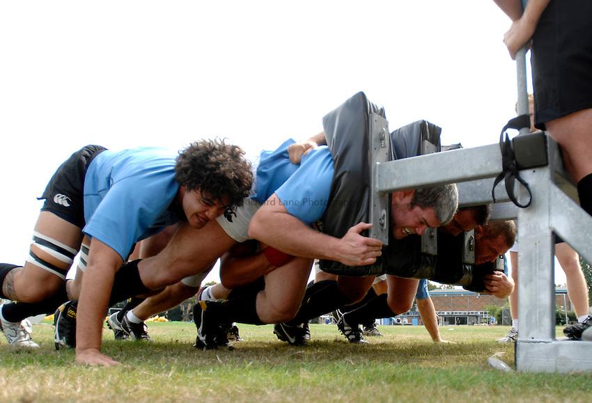 Photo: Richard Lane..London Wasps Training. 15/08/2006..Wasps forwards practice scrummaging.