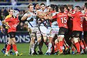 Racing 92 Antoine Claassen gets into a disagreement with some of the Ulster players during the second half of the match at the Kingspan Stadium, Belfast, Northern Ireland, 12 Jan 2019. Photo/Paul McErlane