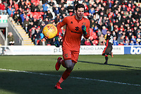 Lee Nicholls of MK Dons during the Sky Bet League 1 match between Fleetwood Town and MK Dons at Highbury Stadium, Fleetwood, England on 24 February 2018. Photo by David Horn / PRiME Media Images