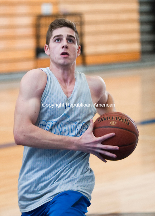 LITCHFIELD, CT--- -120915JS09--Litchfield's Austin Dieck drives to the basket during practice Wednesday at Litchfield High School.<br />   Jim Shannon Republican-American