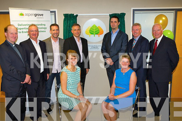 OPENING: At the opening od Aspengrove,Solutions, Castlemaine Road,Tralee on Thursday evening Front l-r: Mrs Ryuan and Bernie Buckley. Back l-r: Fr Padraig Walsh (St Brendans Parish),  Ed Buckley (Operations Aspengroves), Jim Breen (CEO Pulse in learneing), Sean Ryan (CEO Aspengrove), Donal Regan (Techinical Product Manager), Kieran Ruthledge (Chamber allince) and Tom Haves (Expenapure).