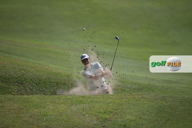Julien Quesne (FRA) in the bunker on the 9th during Round Three of the Africa Open 2015 at the East London Golf Club, East London, Eastern Cape, South Africa. Picture:  David Lloyd / www.golffile.ie. 07/03/2015