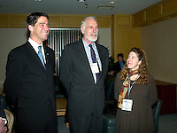 Montreal, March 28, 2001<br /> Quebec Environment (new) Minister Andre Boisclair (left) discuss with Canada Environment Minister David Anderson (middle) and Reseau Environnement President Nathalie Drapeau (right) before the opening plenary session of Americana 2001, March 28, 2001 in Montreal, Canada<br /> Organized by Reseau Environnement, Americana is the biggest North American convention and trade show on environment and waste management.<br /> Photo by Pierre Roussel /