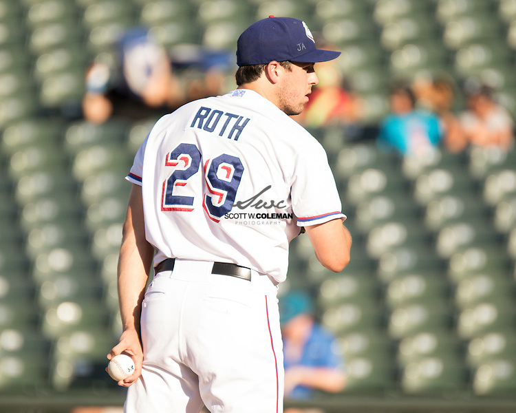 Round Rock Express starting pitcher Michael Roth on the mound during the Minor League Baseball game between the Round Rock Express and the Nashville Sounds at Dell Diamond in Round Rock on Sunday, August 7, 2016. Nashville won 6-1.
