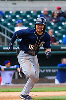 San Antonio Missions second baseman Keston Hiura (18) runs to first base during a Pacific Coast League game against the Iowa Cubs on May 2, 2019 at Principal Park in Des Moines, Iowa. Iowa defeated San Antonio 8-6. (Brad Krause/Four Seam Images)