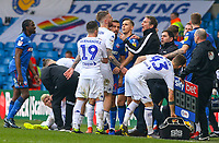 Bolton Wanderers manager Phil Parkinson has words with Leeds United's Pontus Jansson<br /> <br /> Photographer Alex Dodd/CameraSport<br /> <br /> The EFL Sky Bet Championship - Leeds United v Bolton Wanderers - Saturday 23rd February 2019 - Elland Road - Leeds<br /> <br /> World Copyright © 2019 CameraSport. All rights reserved. 43 Linden Ave. Countesthorpe. Leicester. England. LE8 5PG - Tel: +44 (0) 116 277 4147 - admin@camerasport.com - www.camerasport.com