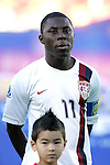 11 July 2007: USA's Freddy Adu, pregame. The Under-20 Men's National Team of the United States defeated Uruguay's Under-20 Men's National Team 2-1 after extra time in a  round of 16 match at the National Soccer Stadium (also known as BMO Field) in Toronto, Ontario, Canada during the FIFA U-20 World Cup Canada 2007 tournament.