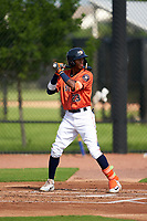 GCL Astros Yefri Carrillo (23) at bat during a Gulf Coast League game against the GCL Mets on August 10, 2019 at FITTEAM Ballpark of the Palm Beaches Training Complex in Palm Beach, Florida.  GCL Astros defeated the GCL Mets 8-6.  (Mike Janes/Four Seam Images)