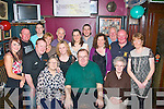 RETIRING: Michael O'Carroll, originally St John's Pk, Tralee (seated centre) who retired from AIB bank, Uxbridge, London after 30 yrs service had a wonderful night in the Greyhound bar, Pembroke St, Tralee last Saturday surrounded by family and friends, also seated is his mom Hanna (left) and Kate O'Connor. Back l-r: Danielle Dennehy, Jerry Carroll, John Hussey, Gene Moriarty, Brenda Dennehy, Tony Collins, Deirdre Dennehy, Jennifer Carroll, Vince Reidy, Treasa Walsh, James Wren with Anto and Treasa Carroll.
