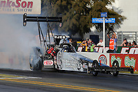 Feb. 14, 2013; Pomona, CA, USA; NHRA top fuel dragster driver Bob Vandergriff Jr during qualifying for the Winternationals at Auto Club Raceway at Pomona.. Mandatory Credit: Mark J. Rebilas-