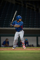 AZL Rangers left fielder LeDarious Clark (1) at bat during an Arizona League game against the AZL Cubs 2 at Sloan Park on July 7, 2018 in Mesa, Arizona. AZL Rangers defeated AZL Cubs 2 11-2. (Zachary Lucy/Four Seam Images)