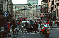 London:  Liverpool St. looking west past Broad St. at Blomfield St.  Broadgate Development on right.  Photo Jan. '90.