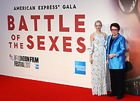 Emma Stone and Billie Jean King at the 61st BFI London Film Festival - Battle of the Sexes - American Express Gala at Odeon Leicester Square, London on October 7th 2017<br /> CAP/ROS<br /> &copy; Steve Ross/Capital Pictures