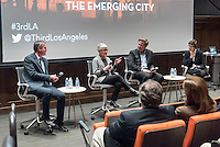 "Occidental College professor and LA Times architecture critic Christopher Hawthorne moderates a Third Los Angeles panel discussion on ""Turf Battles: The Lawn in Los Angeles"" on Feb. 17, 2016.<br /> On the panel, from left: Christopher Hawthorne, Oxy biology professor Gretchen North, landscape architect James Burnett and designer Elizabeth Diller H'14 (partner in Diller Scofidio + Renfro, New York and principal in charge of the landmark Canadian Center for Architecture exhibition ""The American Lawn: Surface of Everyday Life"".) Huntington Library curator of photographs Jennifer Watts also spoke after a short film was screened on the L.A. lawn in movies and TV by Colin Marshall.<br /> (Photo by Marc Campos, Occidental College Photographer)"