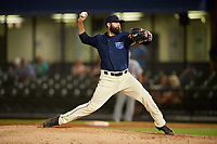 Mobile BayBears relief pitcher Kaleb Cowart (26) during a Southern League game against the Jacksonville Jumbo Shrimp on May 7, 2019 at Hank Aaron Stadium in Mobile, Alabama.  Mobile defeated Jacksonville 2-0.  (Mike Janes/Four Seam Images)
