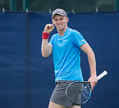 June 11th 2017, Nottingham, England; ATP Aegon Nottingham Open Tennis Tournament day 2;  Determination on the face of Barnaby Smith of Great Britain