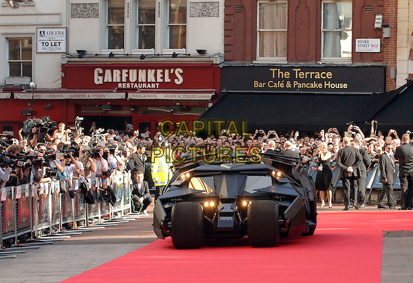 "THE BATMOBILE .At the UK Premiere for the new Batman movie ""The Dark Knight"", Odeon Leicester Square, London, England,.July 21st 2008..atmosphere car red carpet .CAP/WIZ.©Wizard/Capital Pictures"