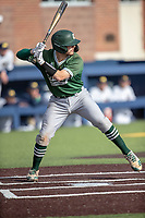 Eastern Michigan Eagles catcher Nick Jones (14) at bat during the NCAA baseball game against the Michigan Wolverines on May 8, 2019 at Ray Fisher Stadium in Ann Arbor, Michigan. Michigan defeated Eastern Michigan 10-1. (Andrew Woolley/Four Seam Images)