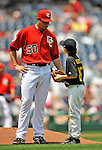 8 June 2008: Washington Nationals' pitcher Garrett Mock talks to a Little Leaguer prior to a game against the San Francisco Giants at Nationals Park in Washington, DC. The Nationals dropped the afternoon matchup to the Giants 6-3 in their third consecutive loss of the 4-game series, with hundreds of regional Little League players in attendance as part of the game-day events...Mandatory Photo Credit: Ed Wolfstein Photo