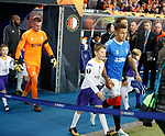 19.09.2019 Rangers v Feyenoord: Rangers captain James Tavernier leads out the teams