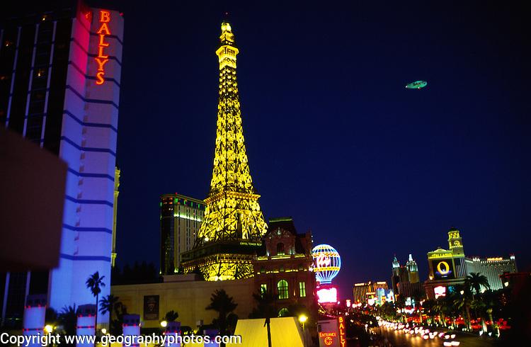 Ballys and Eiffel Tower, The Strip, Las Vegas, Nevada, USA