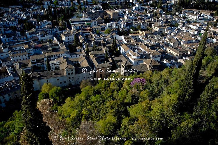 Sacromonte hill overlooking Albayzin, Granada, Andalusia, Spain.