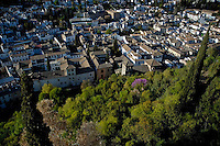 Sacromonte hill overlooking Albayzin, Granada, Andalusia, Spain.