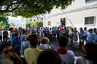 Palermo (Sicily - Italy), 18/07/2017. 25th Anniversary Commemoration of Via D'Amelio bombing, at the &quot;Reparto Scorte&quot; of the Lungaro Police Station in Palermo (The 'Reparto Scorte' is a special branch of the Italian police force, responsible for protecting Judges). On the 19 July 1992, 100kg TNT bomb killed the anti-mafia Magistrate Paolo Borsellino. Also killed by the bomb were five members of Borsellino's police &quot;scorta&quot; (escorts from the special branch of the Italian police force who protect Judges). The police officers were: Agostino Catalano, Emanuela Loi (the first Italian female member of the police special branch and the first one to be killed on duty), Vincenzo Li Muli, Walter Eddie Cosina and Claudio Traina.<br />