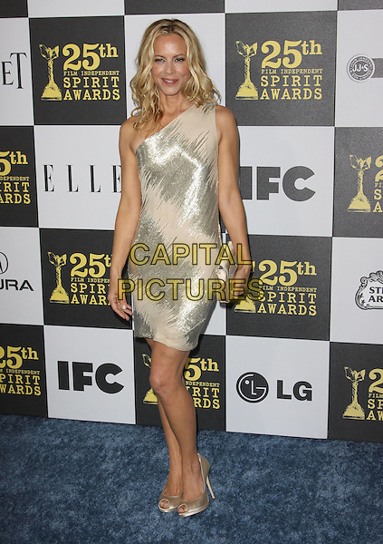 MARIA BELLO .25th Annual Film Independent Spirit Awards held At The Nokia LA Live, Los Angeles, California, USA,.March 5th, 2010 ..arrivals Indie Spirit full length gold nude beige cream one shoulder shiny dress peep toe shoes clutch bag .CAP/ADM/KB.©Kevan Brooks/Admedia/Capital Pictures