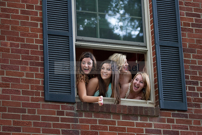 Members of Kappa Delta wait for new pledges to arrive at sorority bid day in Lexington, Ky., on Friday, August 21,  2015. Photo by Emily Wuetcher | Staff