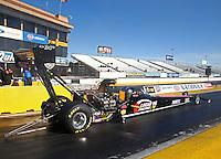 Feb 4, 2016; Chandler, AZ, USA; NHRA top fuel driver Morgan Lucas during pre season testing at Wild Horse Pass Motorsports Park. Mandatory Credit: Mark J. Rebilas-USA TODAY Sports