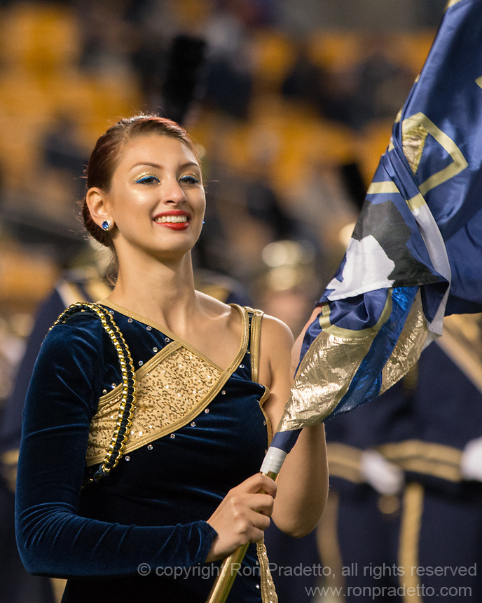 A member of the Pitt color guard performs before the game. The Virginia Tech Hokies defeated the Pitt Panthers 39-36 on October 27, 2016 at Heinz Field in Pittsburgh, Pennsylvania.