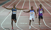 Zharnel HUGHES (left) of GBR wins the 200m in a season best of 20.05 beating 2nd placed Dedric Dukes of USA (20.14) during the Sainsburys Anniversary Games at the Olympic Park, London, England on 24 July 2015. Photo by Andy Rowland.