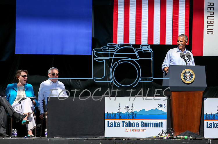From left, U.S. Sens. Dianne Feinstein, Harry Reid and Pres. Barack Obama participate in the 20th annual Tahoe Summit in Stateline, Nev., on Wednesday, Aug. 31, 2016. Obama was the keynote speaker at the annual event which focuses on the environmental protection of Lake Tahoe. Cathleen Allison/Las Vegas Review-Journal
