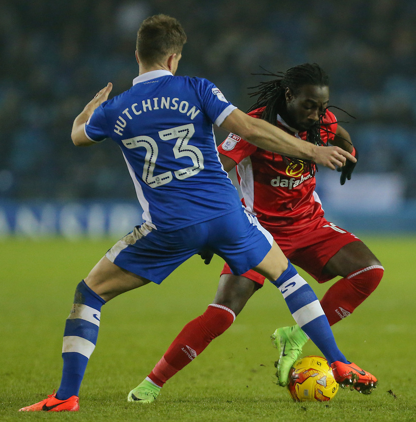 Blackburn Rovers' Marvin Emnes takes on Sheffield Wednesday's Sam Hutchinson<br /> <br /> Photographer Alex Dodd/CameraSport<br /> <br /> The EFL Sky Bet Championship - Sheffield Wednesday v Blackburn Rovers - Tuesday 14th February 2017 - Hillsborough - Sheffield<br /> <br /> World Copyright &copy; 2017 CameraSport. All rights reserved. 43 Linden Ave. Countesthorpe. Leicester. England. LE8 5PG - Tel: +44 (0) 116 277 4147 - admin@camerasport.com - www.camerasport.com