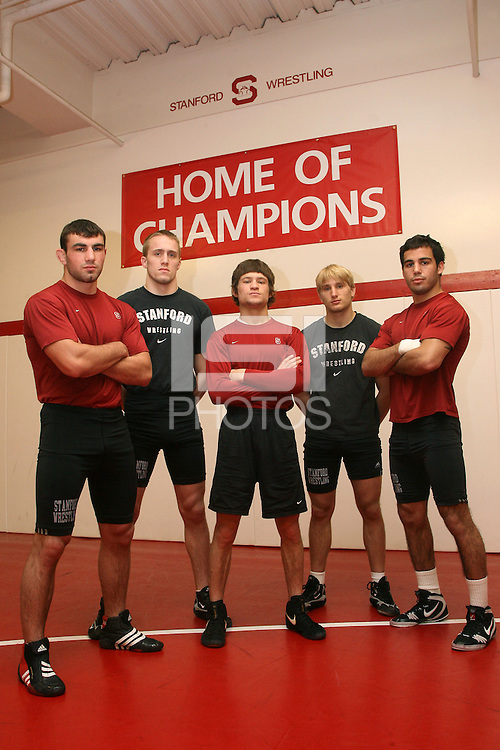 11 March 2008: Zack Giesen, Luke Feist, Tanner Gardner, Josh Zupancic, and Lucas Espericueta, pictured in the wrestling room, will compete in the NCAA Wrestling Championships in St. Louis, Missouri.