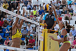 30.05.2015, Moskau, Vodny Stadion<br /> Moskau Grand Slam, Main Draw / Halbfinale<br /> <br /> Block Yuan Yue (#2 CHN) - Angriff Larissa Franca (#1 BRA)<br /> <br />   Foto &copy; nordphoto / Kurth