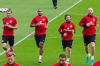 Gareth Bale, Ashley Williams, Joe Allen and James Collins during the Wales open Training session ahead of the opening FIFA World Cup 2018 Qualification match against Moldova at The Vale Resort, Cardiff, Wales on 31 August 2016. Photo by Mark  Hawkins / PRiME Media Images.