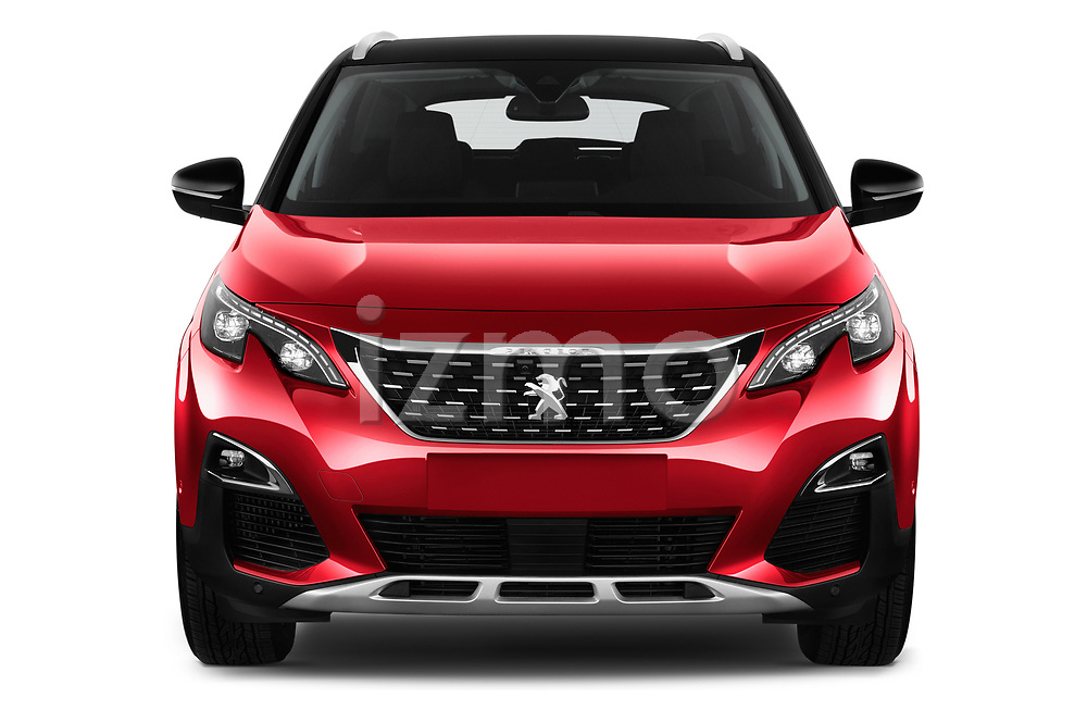 Car photography straight front view of a 2018 Peugeot 3008 Allure 5 Door SUV