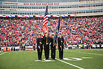 Wisconsin Badgers ROTC Naval Color Guard presents the flags during the National Anthem prior to an NCAA College Big Ten Conference football game against the Purdue Boilermakers Saturday, October 14, 2017, in Madison, Wis. The Badgers won 17-9. (Photo by David Stluka)